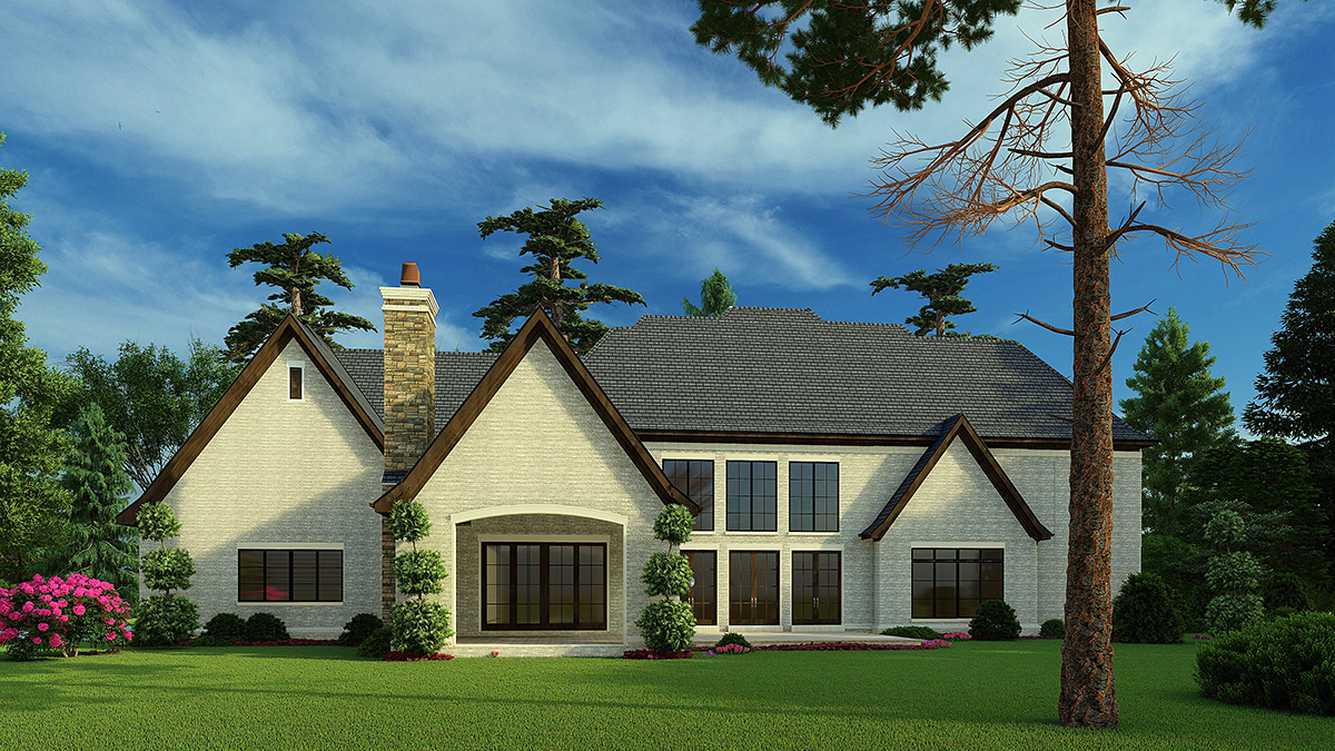Colonial, Contemporary, European House Plan 82588 with 5 Beds, 7 Baths, 3 Car Garage Rear Elevation