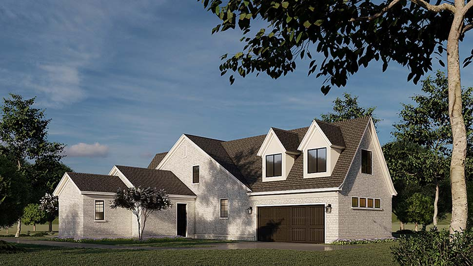 Contemporary, European, French Country House Plan 82589 with 4 Beds, 5 Baths, 2 Car Garage Rear Elevation