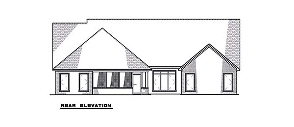 Contemporary, Craftsman, European House Plan 82590 with 4 Beds, 3 Baths, 2 Car Garage Rear Elevation