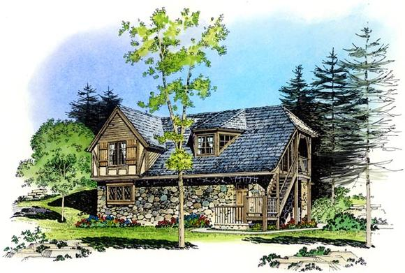 Cottage, Country, European, Tudor 3 Car Garage Apartment Plan 86062 with 2 Beds, 1 Baths Elevation