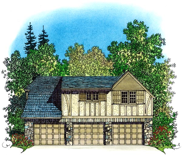 Cottage, Country, European, Tudor 3 Car Garage Apartment Plan 86062 with 2 Beds, 1 Baths Rear Elevation