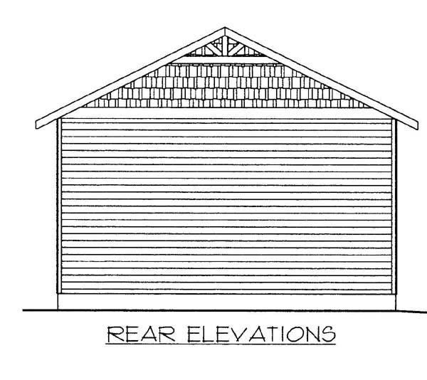 1 Car Garage Plan 86583 Rear Elevation