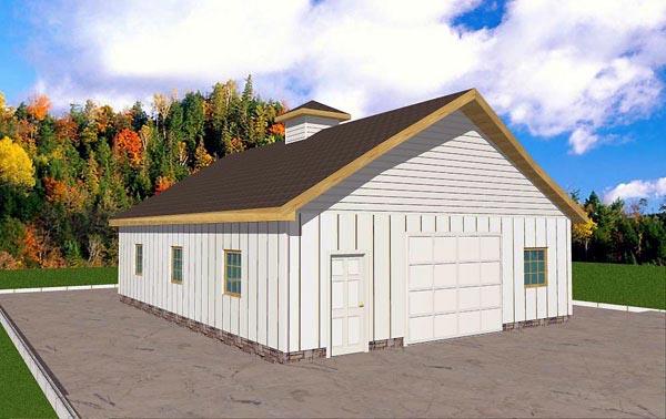 4 Car Garage Plan 86882 Elevation