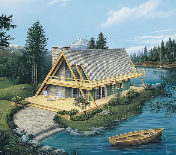 A-Frame House Plan 86952 with 2 Beds, 1 Baths Elevation