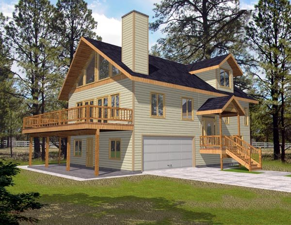 Narrow Lot, One-Story House Plan 87176 with 3 Beds, 3 Baths, 2 Car Garage Elevation