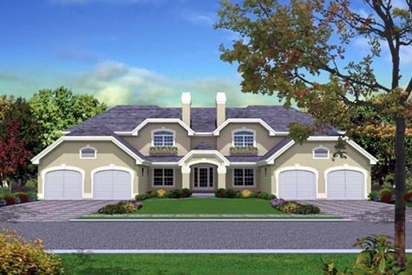 Mediterranean Multi-Family Plan 87349 with 12 Beds, 8 Baths, 4 Car Garage Elevation