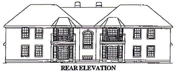Mediterranean Multi-Family Plan 87349 with 12 Beds, 8 Baths, 4 Car Garage Rear Elevation