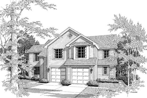 Traditional Multi-Family Plan 87351 with 6 Beds, 5 Baths, 2 Car Garage Elevation