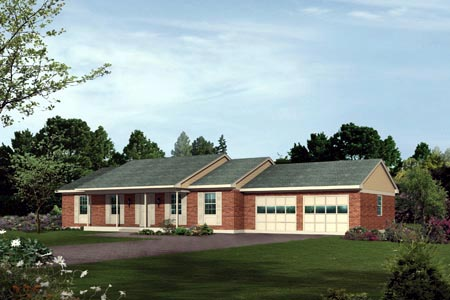 One-Story, Ranch House Plan 87363 with 3 Beds, 2 Baths, 2 Car Garage Elevation