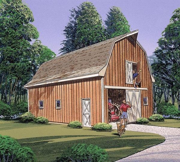 3 Car Garage Plan 87870 Elevation