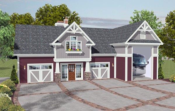 Craftsman 3 Car Garage Apartment Plan 93485 with 1 Beds, 3 Baths, RV Storage Elevation