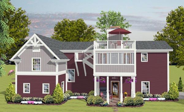 Craftsman 3 Car Garage Apartment Plan 93485 with 1 Beds, 3 Baths, RV Storage Rear Elevation