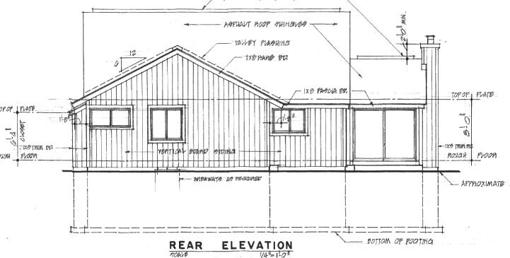 Contemporary House Plan 94011 with 3 Beds, 2 Baths, 2 Car Garage Rear Elevation
