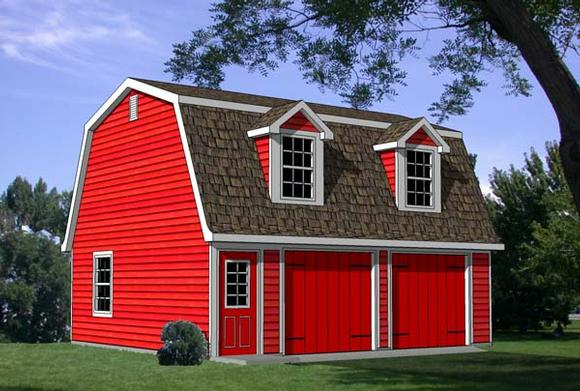 2 Car Garage Apartment Plan 94343 with 1 Beds, 1 Baths Elevation