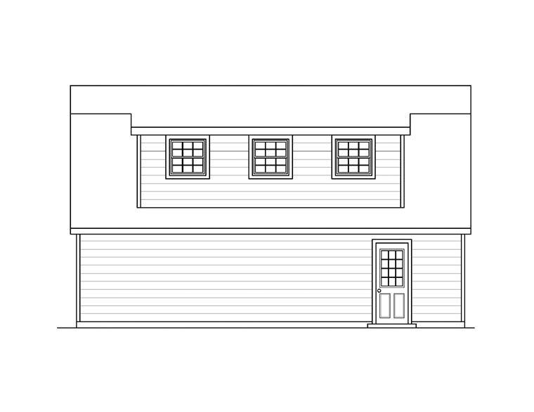 3 Car Garage Apartment Plan 94348 with 1 Beds, 1 Baths Rear Elevation