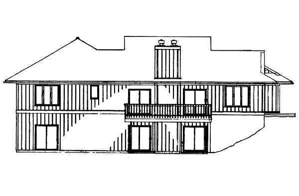 Contemporary, Ranch House Plan 95271 with 4 Beds, 4 Baths, 2 Car Garage Rear Elevation