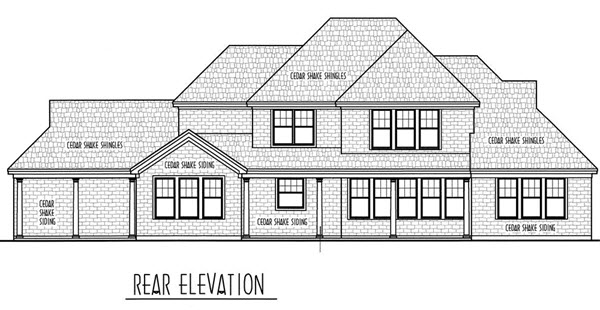 Country, European House Plan 95734 with 4 Beds, 4 Baths, 2 Car Garage Rear Elevation