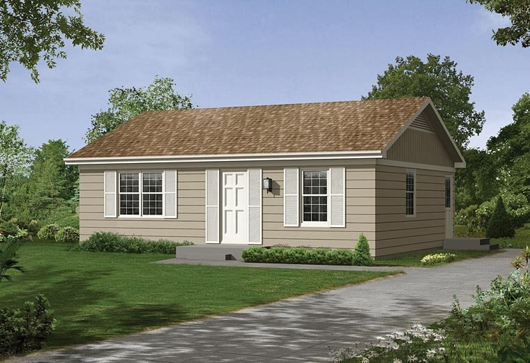 Ranch House Plan 95987 with 2 Beds, 1 Baths Elevation