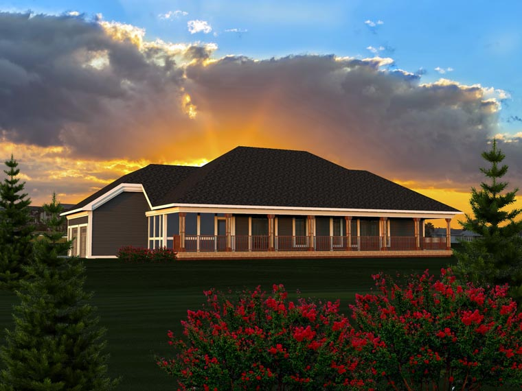 Ranch, Traditional House Plan 96152 with 3 Beds, 3 Baths, 2 Car Garage Rear Elevation