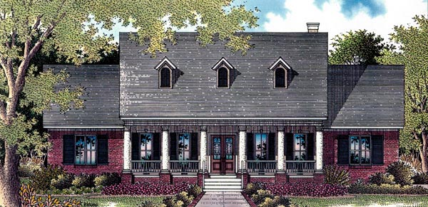 Cape Cod, Colonial, One-Story House Plan 96521 with 4 Beds, 4 Baths, 2 Car Garage Elevation