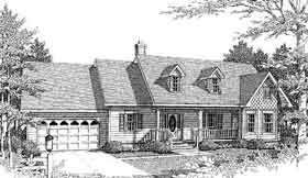 Bungalow, Cape Cod, Country, One-Story House Plan 96536 with 4 Beds, 2 Baths, 2 Car Garage Elevation