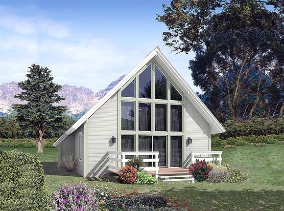 A-Frame, Contemporary, Traditional House Plan 97251 with 2 Beds, 1 Baths Elevation