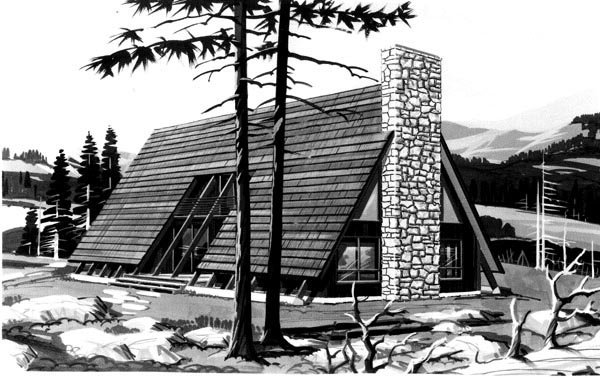 A-Frame House Plan 98377 with 3 Beds, 2 Baths Elevation