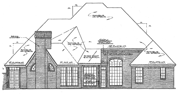 European House Plan 98511 with 4 Beds, 4 Baths, 3 Car Garage Rear Elevation