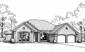 European House Plan 98516 with 4 Beds, 3 Baths, 2 Car Garage Elevation