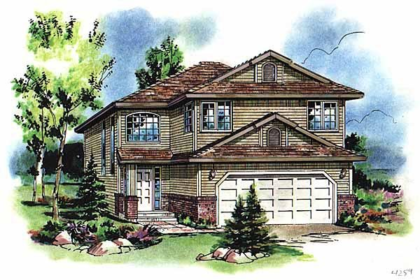 European, Narrow Lot, Traditional House Plan 98869 with 5 Beds, 3 Baths, 2 Car Garage Elevation