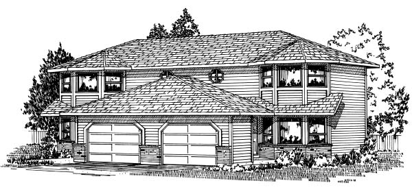 Traditional Multi-Family Plan 99903 with 6 Beds, 4 Baths, 2 Car Garage Elevation