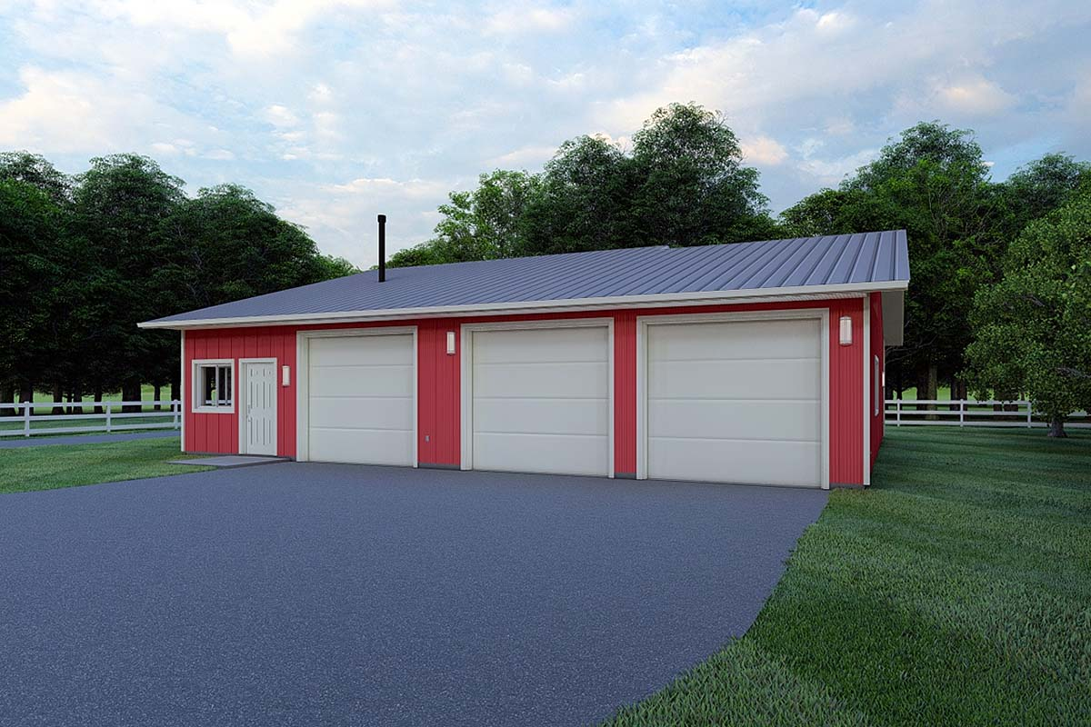 3 Car Garage Plan 99933 Elevation